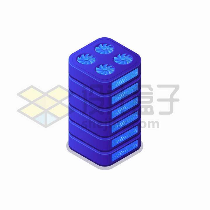 2.5D风格带散热扇的紫色云计算服务器机架png图片免抠矢量素材