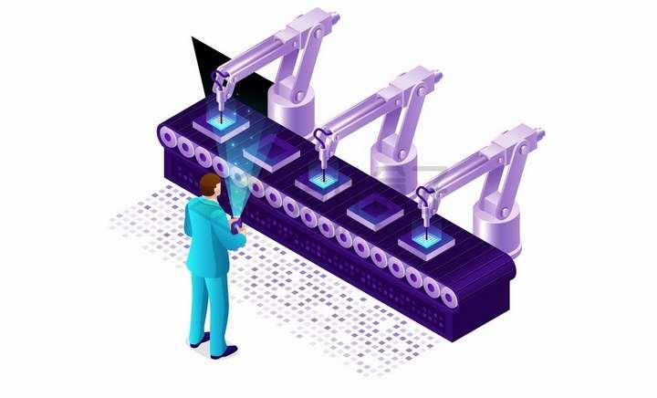 2.5D风格紫色工厂生产流水线传送带png图片免抠矢量素材