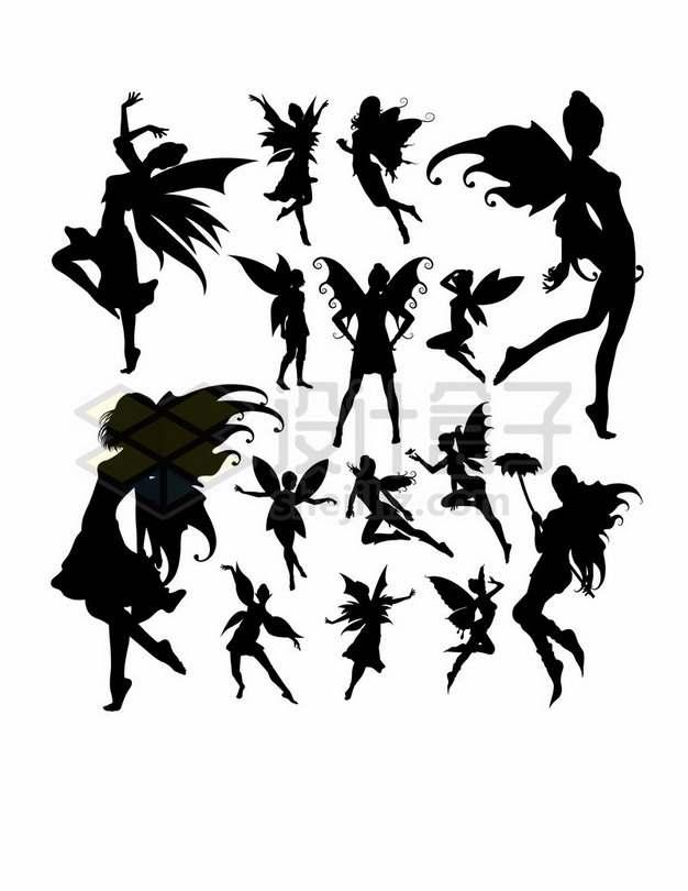 各种花仙子小精灵剪影926639 png图片素材