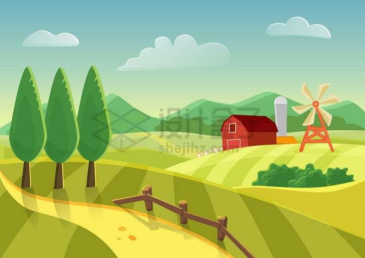 卡通风格漂亮的农场农田农舍大风车风景图png图片免抠矢量素材