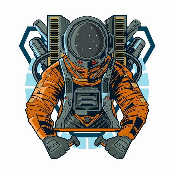 宇航员驾驶外机械装置抽象漫画插画png图片免抠矢量素材