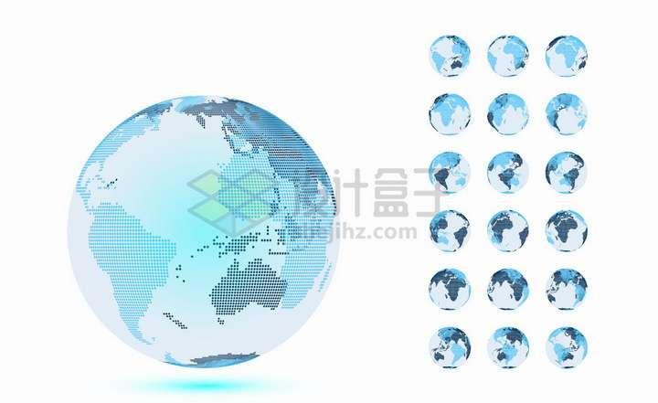 18款蓝色圆点组成的地球模型png图片免抠矢量素材