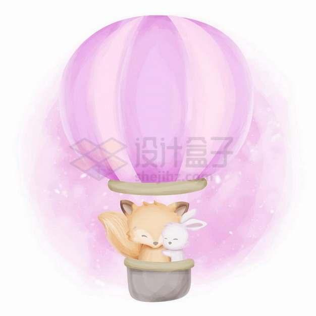 热气球中的超可爱卡通小狐狸和小兔子png图片免抠矢量素材
