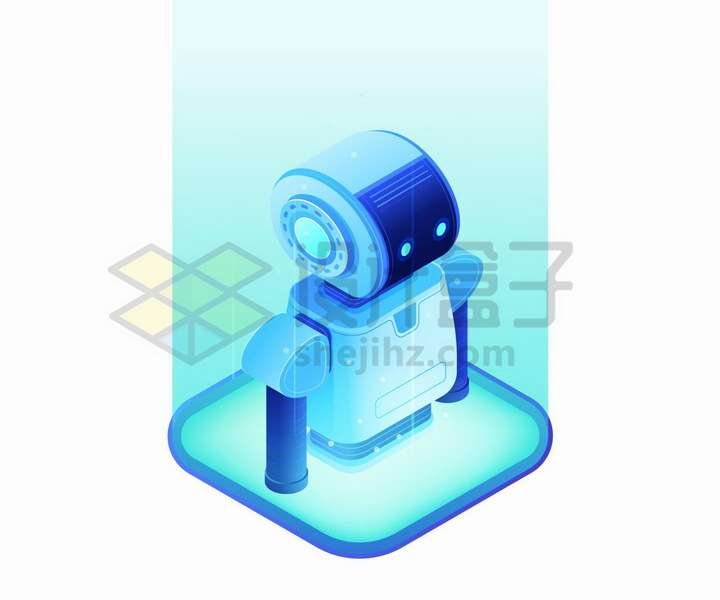 2.5D蓝色卡通小机器人png图片免抠矢量素材