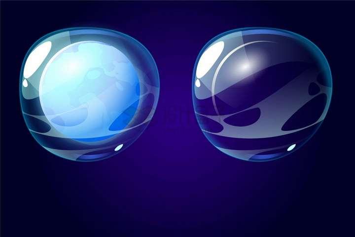 半透明蓝色泡泡包裹着的奇幻星球png图片免抠eps矢量素材