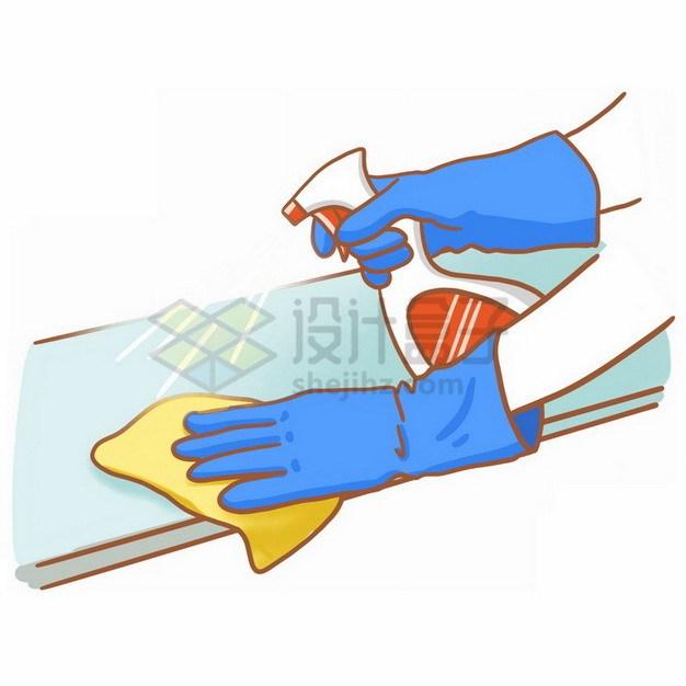 戴着橡胶手套擦拭桌面打扫卫生287436png免抠图片素材 生活素材-第1张