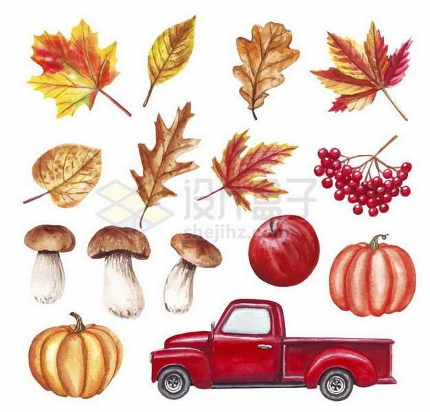 彩绘风格秋天里的枫叶蘑菇南瓜和红色皮卡汽车png图片免抠矢量素材