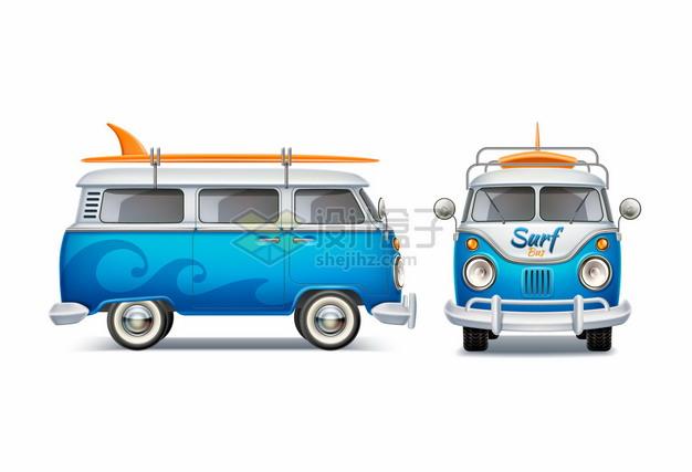 蓝色的卡通旅行汽车侧面和正面图569982png图片矢量图素材