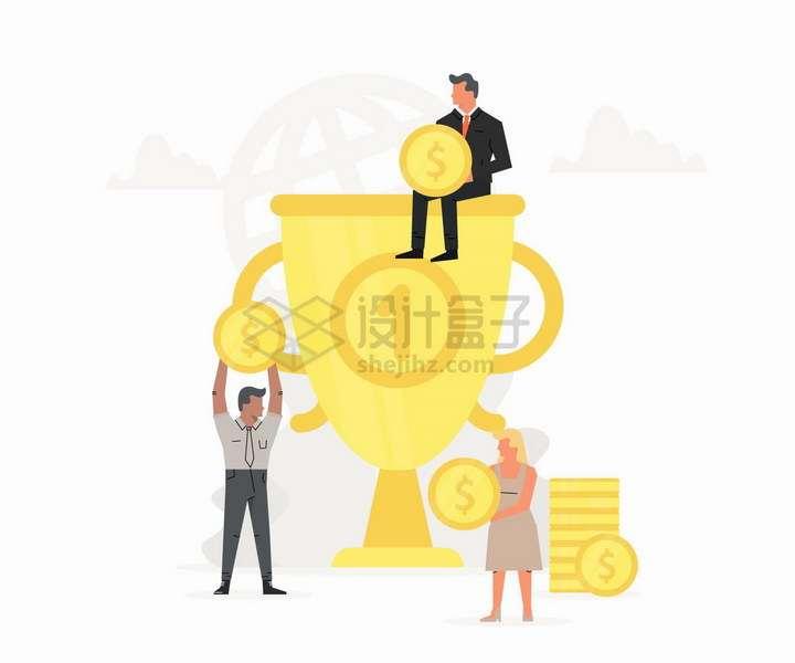 坐在高高的金杯奖杯上的商务人士销售冠军扁平插画png图片免抠矢量素材
