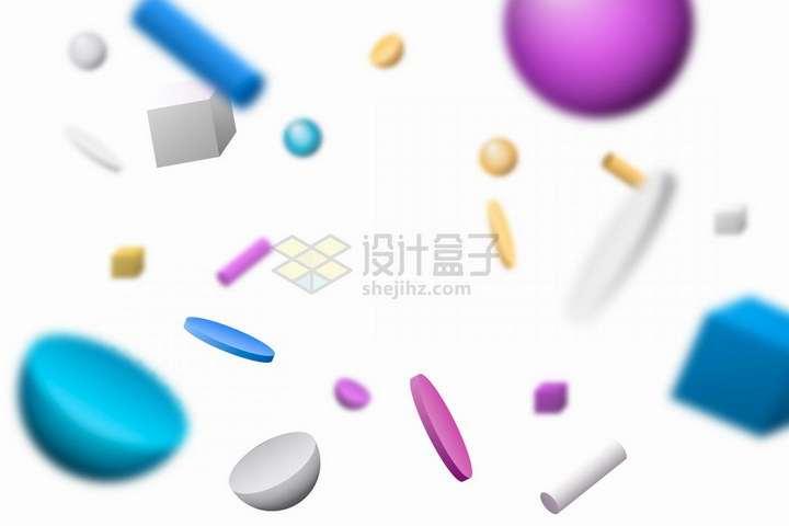 3D立体圆形圆柱形方形等装饰背景png图片免抠矢量素材