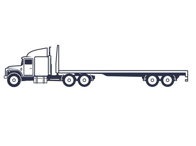 线条平板拖车大型卡车侧视图522315png图片素材