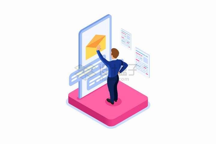 2.5D风格在大大的手机屏幕上打开电子邮件的商务人士png图片免抠矢量素材