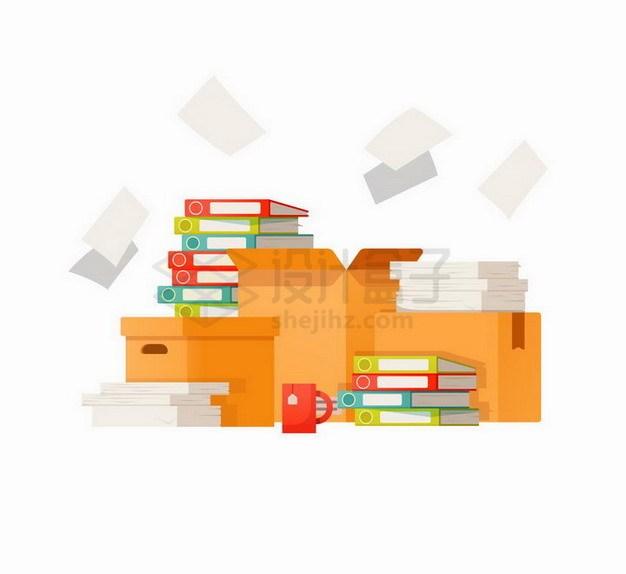 扁平插画风格办公室放满文件夹的纸箱子png图片免抠矢量素材 教育文化-第1张
