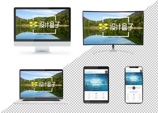 一体机显示器笔记本电脑平板和手机屏幕显示样机295837psd样机图片模板素材