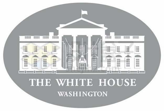 灰白色美国白宫logo徽章标志png图片素材