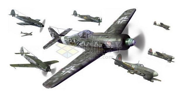 二战中的德国BF-109战斗机群png免抠图片素材 军事科幻-第1张
