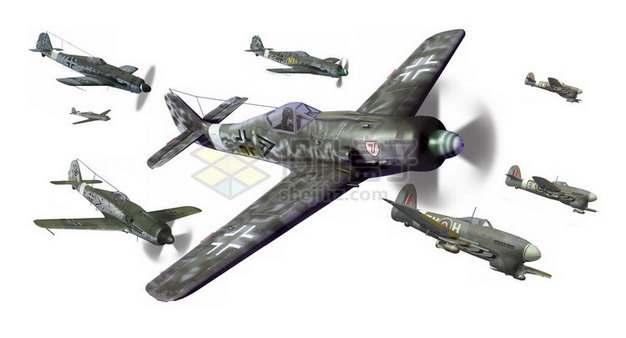 二战中的德国BF-109战斗机群png免抠图片素材