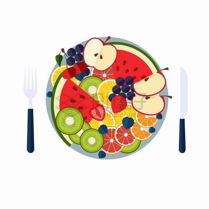 苹果猕猴桃草莓西瓜橙子等水果拼盘png图片免抠矢量素材 生活素材-第1张