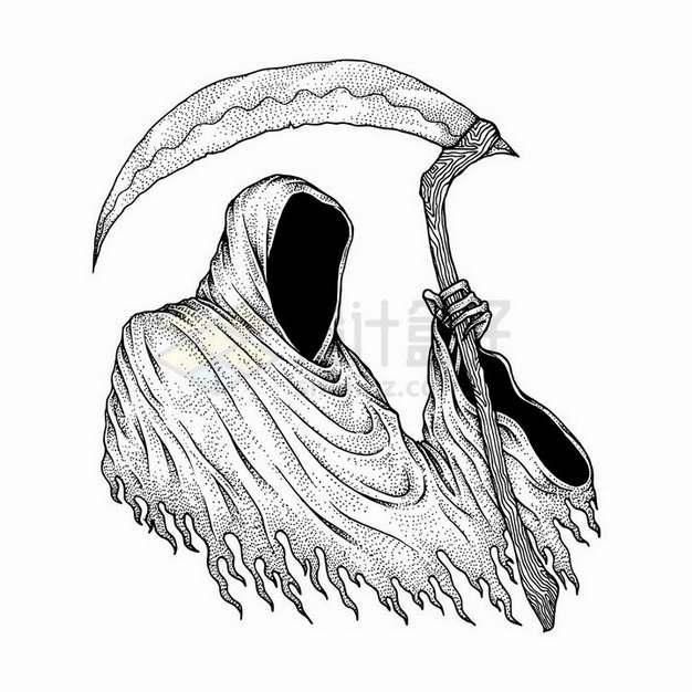 素描手绘风格死神插画png图片免抠矢量素材