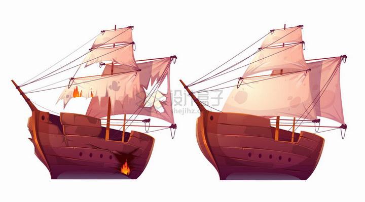 卡通复古木帆船帆布破旧了png图片免抠eps矢量素材