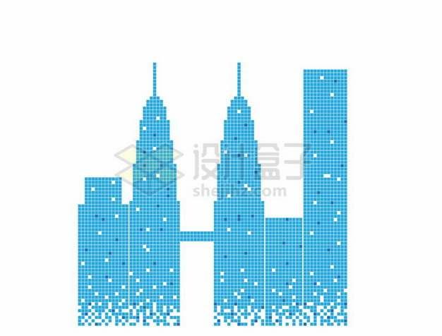 蓝色方块组成的高楼大厦城市天际线223757png图片素材