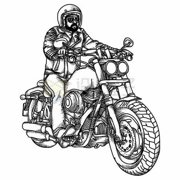 手绘线条风格骑摩托车的大叔png图片免抠矢量素材