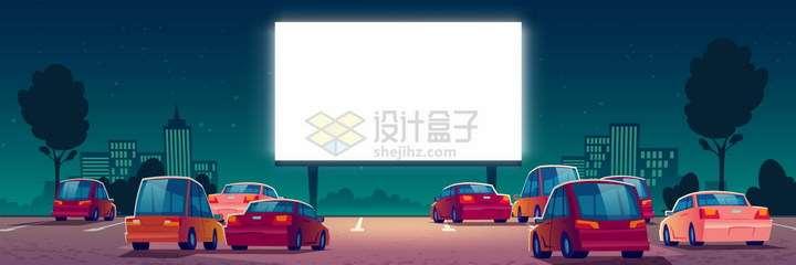 卡通风格汽车电影院样机png图片免抠矢量素材