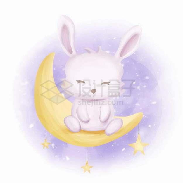 坐在弯弯月亮的超可爱卡通小兔子png图片免抠矢量素材