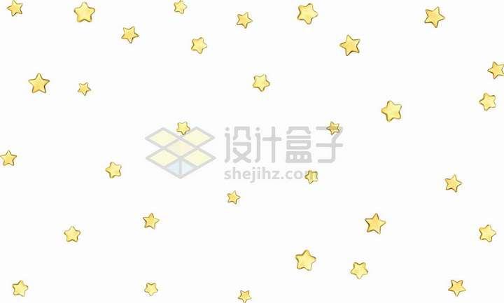 漫天的黄色五角星装饰png图片免抠矢量素材