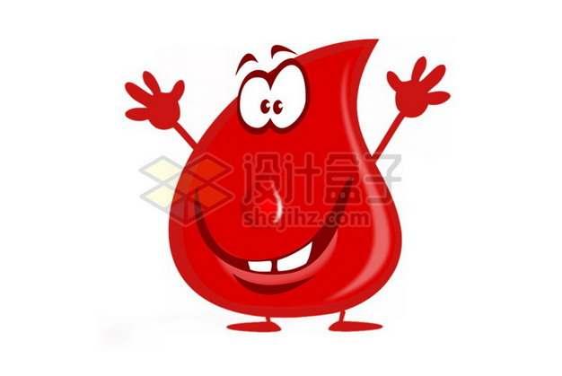 大门牙的红色卡通液滴血液png图片素材