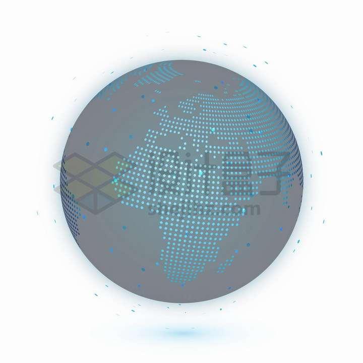 科技风格蓝色圆点组成的地球模型可以看到非洲大陆png图片免抠矢量素材