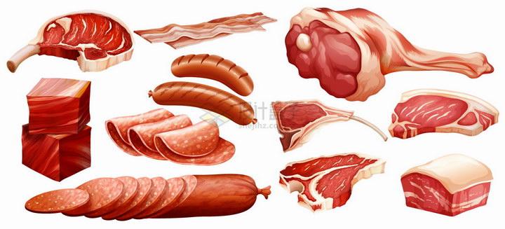 战斧牛排火腿五花肉香肠培根等肉制品png图片免抠eps矢量素材