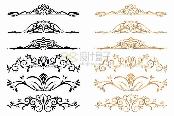 5款黑色金色盛开的花朵花纹png图片免抠矢量素材