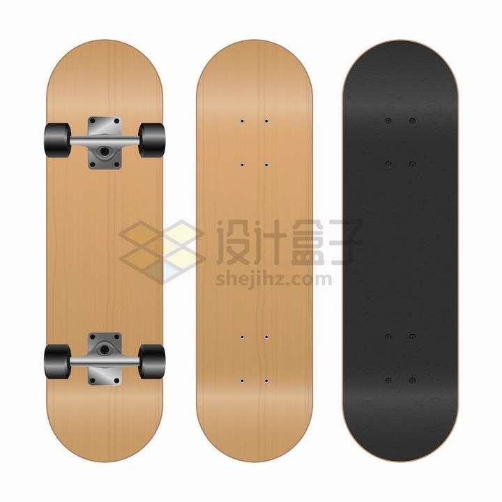 黑色和木纹滑板的正面反面png图片免抠矢量素材