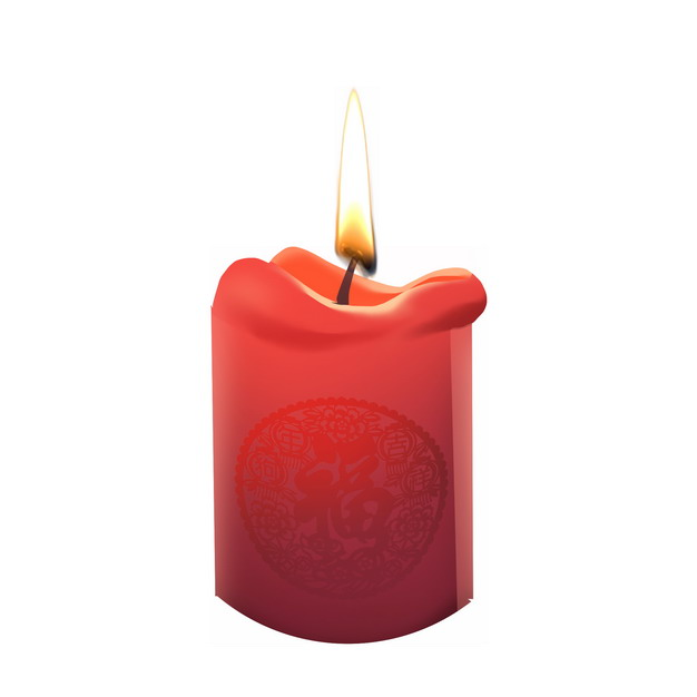 表面有福字的红色新年许愿蜡烛2147857png图片素材 生活素材-第1张