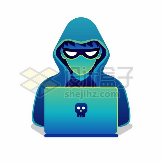 蓝绿色的卡通黑客png图片素材