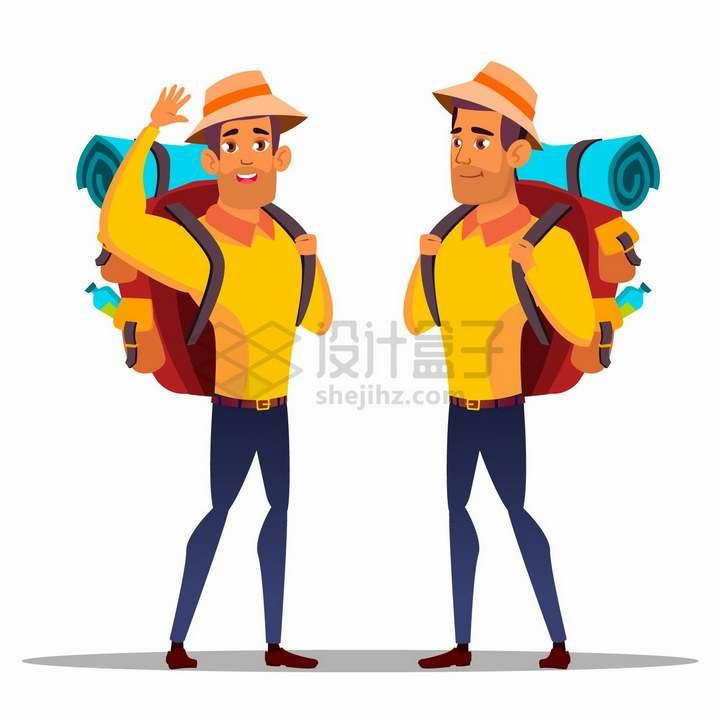 2款卡通男人背着行囊去旅行png图片免抠矢量素材
