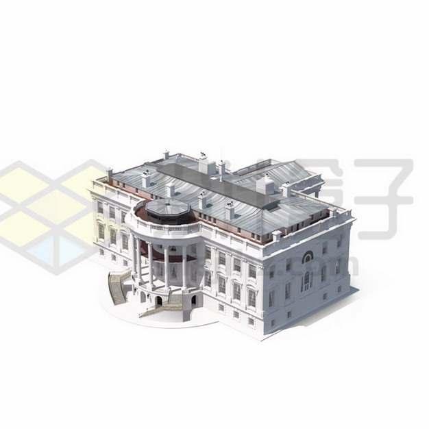 3D立体风格美国白宫建筑前门png图片素材