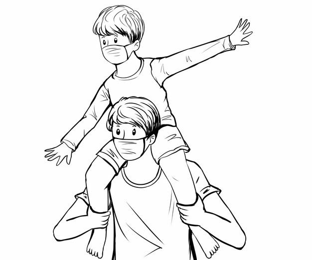 儿子骑脖子在爸爸身上父亲节线条插画439324png图片素材