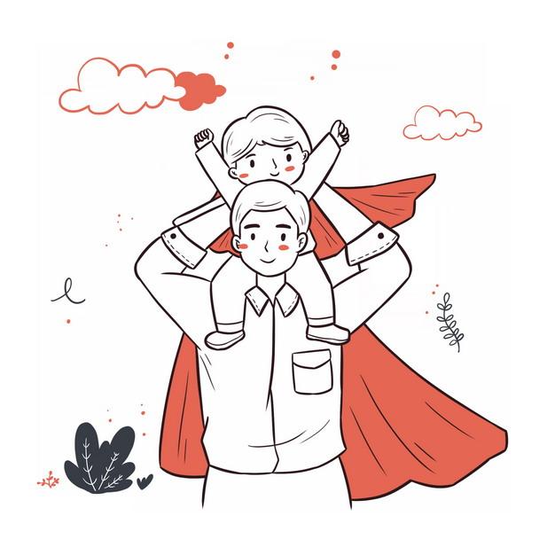 爸爸是超人骑脖子的父亲节插画754463png图片素材 人物素材-第1张