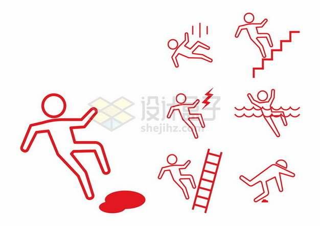 小心滑倒坠落有电水深危险等线条小人儿标志符号967968png图片素材