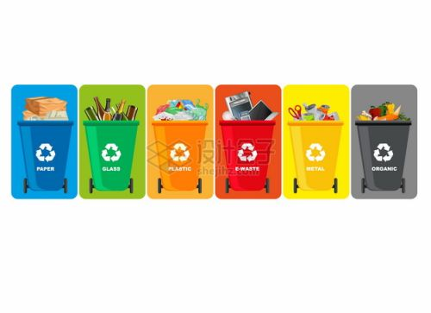 废纸玻璃生活电子垃圾桶垃圾分类插画282968png图片素材