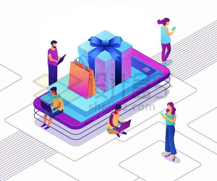 在手机上购买礼物的年轻人网上购物png图片免抠矢量素材