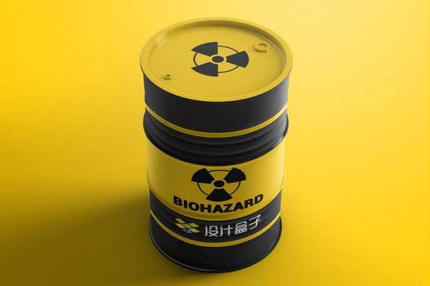 黄黑色的汽油桶核废料桶psd样机图片模板素材