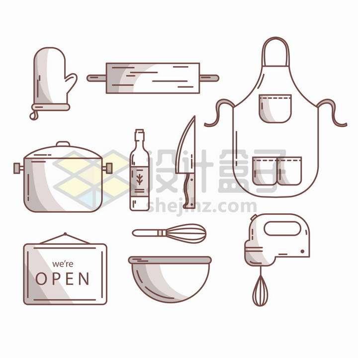 MBE线条风格隔热手套围裙高压锅砧板打蛋器等厨房用品png图片免抠矢量素材