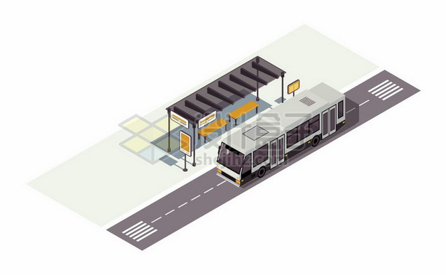 2.5D风格公交站台和公交车png图片素材 交通运输-第1张