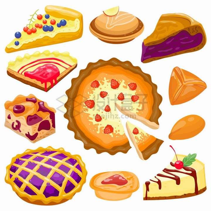 各种切开的蛋糕披萨饼面包西餐美食png图片免抠矢量素材
