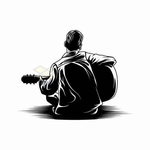 素描手绘坐在地上弹吉他的男孩背影剪影png图片免抠矢量素材 人物素材-第1张