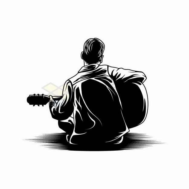 素描手绘坐在地上弹吉他的男孩背影剪影png图片免抠矢量素材
