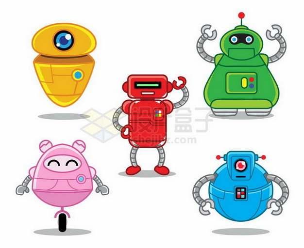 5款可爱的卡通小机器人png图片免抠矢量素材